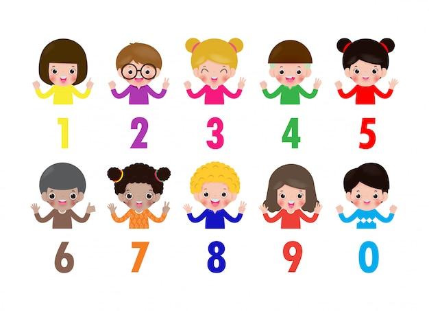 Niños felices mano mostrando el número cero uno dos tres cuatro cinco seis siete ocho nueve niños mostrando números 0-9 con los dedos. concepto de educación, ilustración de material de aprendizaje de niños lindos