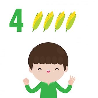 Niños felices mano mostrando el número cuatro, niños lindos mostrando números con los dedos. concepto de educación de fruta de recuento de número de matemáticas de estudio de niño pequeño, ilustración aislada de material de aprendizaje