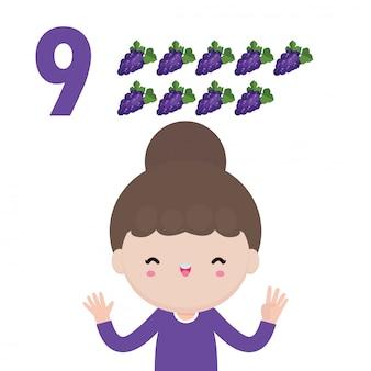 Niños felices y mano mostrando el número nueve, niños lindos mostrando el número 9 con los dedos. concepto de educación de fruta de recuento de matemáticas de estudio de niño pequeño, ilustración aislada de material de aprendizaje.
