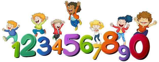 Niños felices y números del uno al cero.