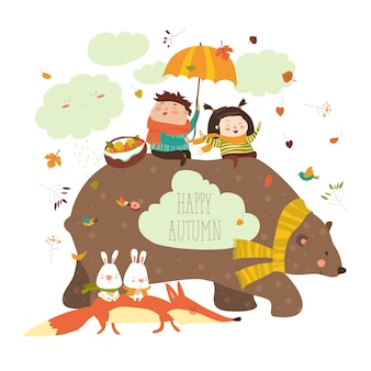Niños felices con oso y zorro