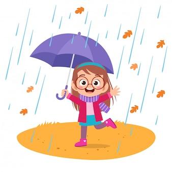 Niños felices otoño