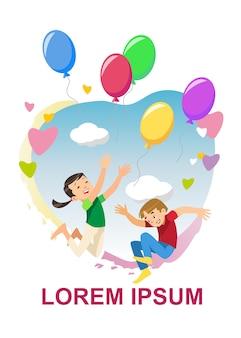 Niños felices regocijan concepto de vector de dibujos animados de vacaciones