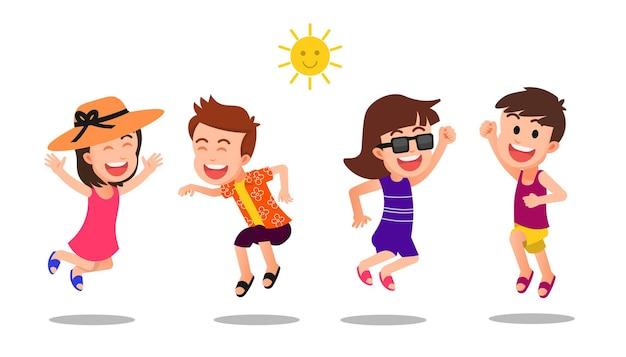 Los niños felices saltan juntos en ropa de verano.