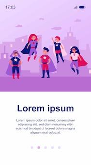 Niños felices en trajes de personajes de superhéroe ilustración