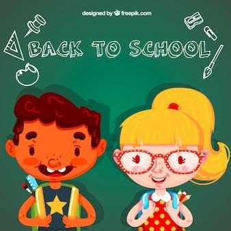 Niños felices de vuelta en el colegio