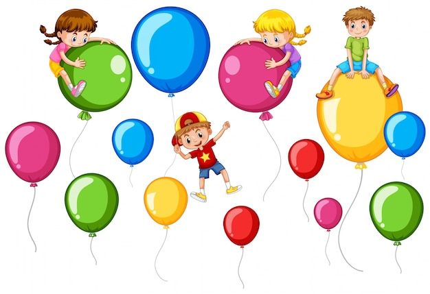 Niños felices y globos de colores