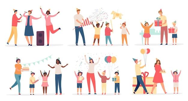 Niños en fiesta de cumpleaños. niños felices con pastel, regalo, confeti y globo. familiares y amigos celebran el conjunto de vectores de vacaciones o aniversario. padres cantando karaoke, chica recibiendo regalos