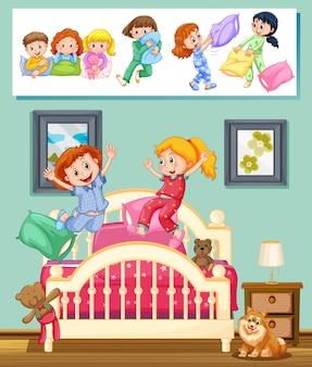 Niños en la fiesta de pijamas en la ilustración dormitorio