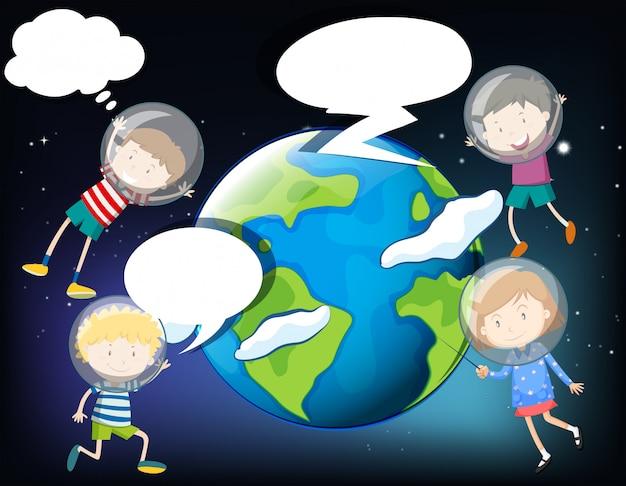 Niños flotando en el espacio alrededor de la tierra.