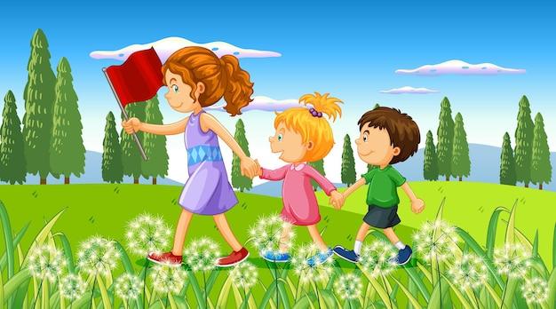 Niños en el fondo de la naturaleza al aire libre.