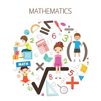 Niños con fórmula matemática, número e iconos, estudiante regreso a la escuela