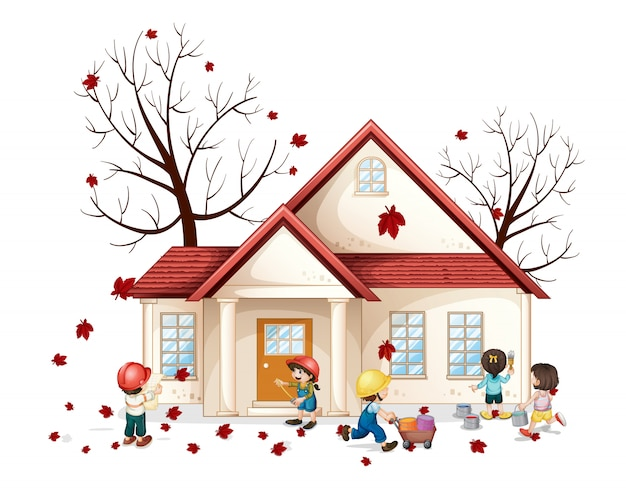 Niños frente a casa