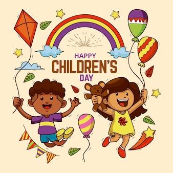 Niños con globos día mundial del niño.