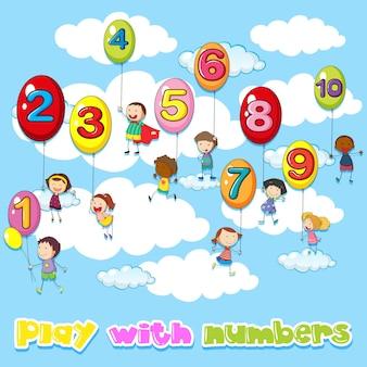 Niños y globos con números.