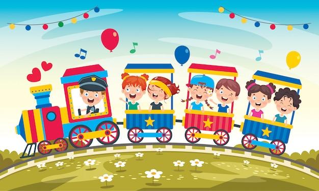 Niños graciosos montando en el tren