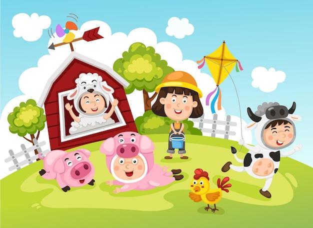 Niños de la granja