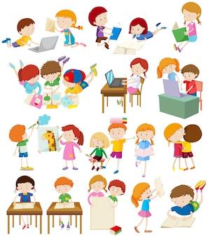 Niños, hacer, actividades, escuela, ilustración