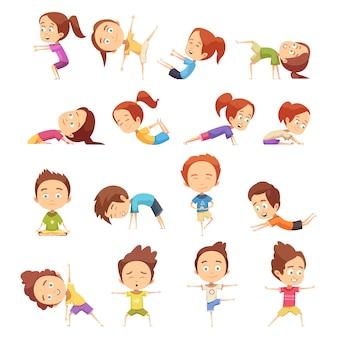 Niños haciendo colección de yoga