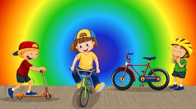 Niños haciendo diferentes actividades en el fondo degradado de arco iris
