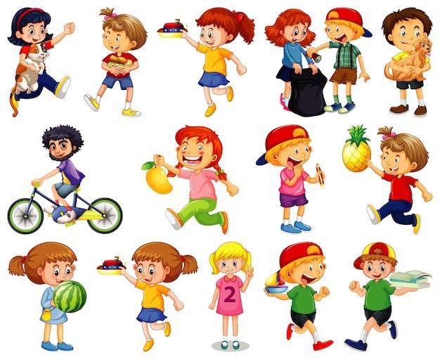 Niños haciendo diferentes actividades, personaje de dibujos animados en blanco
