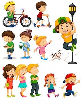 Niños haciendo diferentes actividades