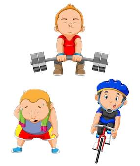 Niños haciendo ejercicio y jugando diferentes deportes de ilustración.