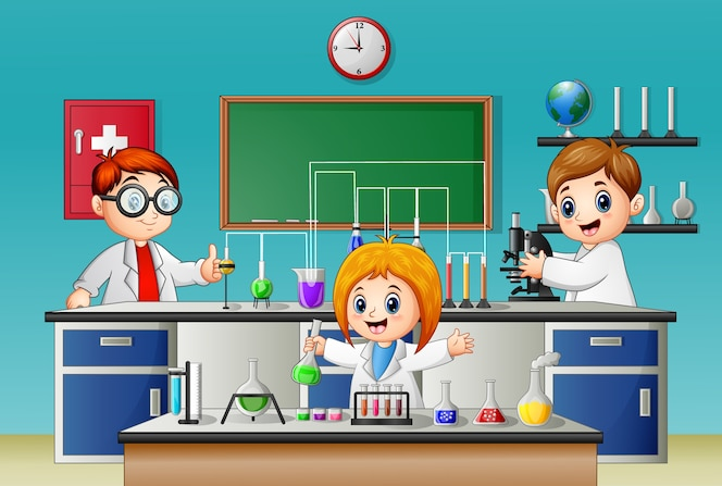 Niños haciendo experimentos en el laboratorio
