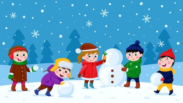 Niños haciendo muñeco de nieve invierno actividad al aire libre vacaciones de navidad diversión recreación conjunto de vectores de dibujos animados