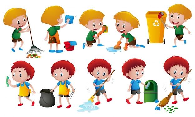 Niños haciendo tareas diferentes