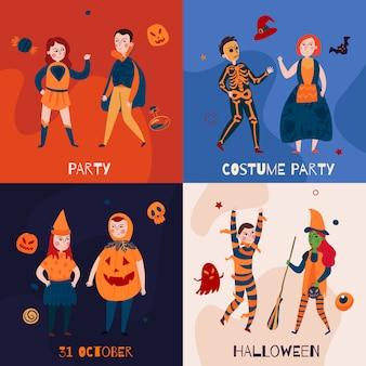 Niños de halloween en disfraces colección de pancartas