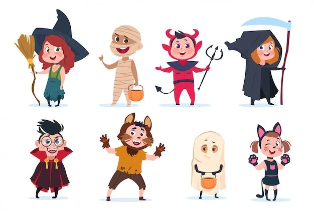 Niños de halloween niños de dibujos animados en disfraces de halloween. niños y niñas divertidos en fiestas charactres aislados
