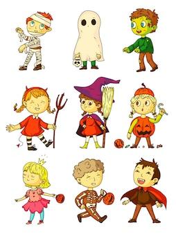 Niños de halloween niños graciosos en trajes espeluznantes establecidos. niños con momia, fantasma, zombie, bruja, diablo, princesa, esqueleto, calabaza, disfraz de vampiro para la celebración de halloween, juegos infantiles