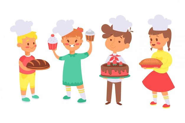 Los niños hornean pan, útil conjunto de hobby ilustración. personajes niños, niñas con sombreros de cocinero sostienen sus platos, pan.