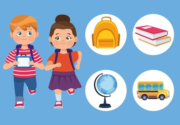 Los niños y los iconos de la escuela