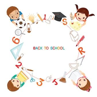 Los niños con los iconos de útiles escolares en el marco del círculo, regreso a la escuela, papelería
