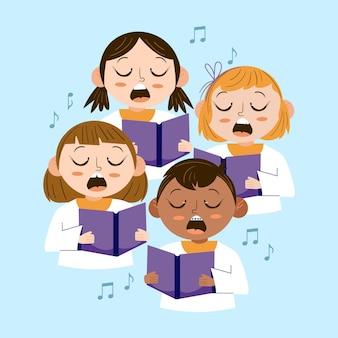 Niños ilustrados cantando juntos en un coro.