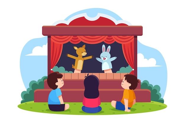 Niños ilustrados viendo un espectáculo de marionetas.