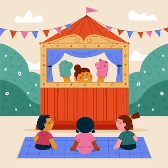 Niños ilustrados viendo un lindo espectáculo de marionetas.