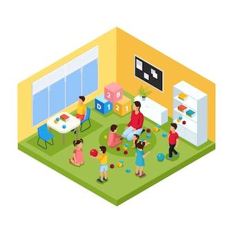 Niños isométricos en concepto de jardín de infantes