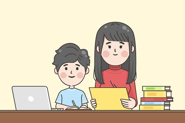 Niños japoneses ayudando con la tarea