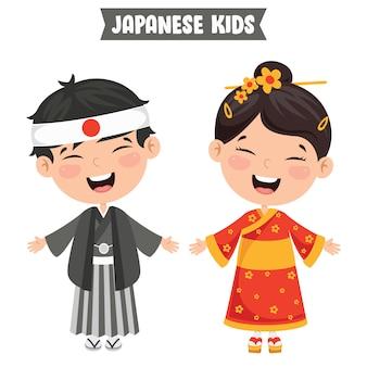 Niños japoneses con ropa tradicional
