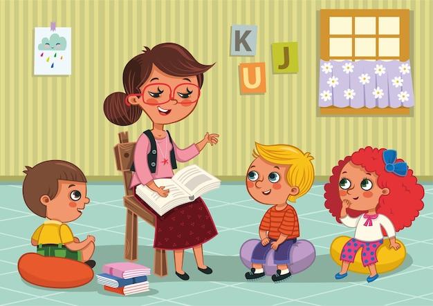Niños de jardín de infantes y su ilustración de vector de maestro