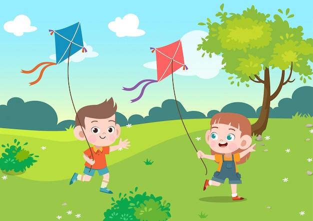 Los niños juegan cometa juntos en la ilustración de vector de jardín