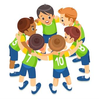 Los niños juegan deportes. equipo deportivo para niños united listo para jugar. deporte de equipo infantil. deportes juveniles para niños. chicos en uniformes deportivos.