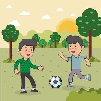 Los niños juegan futbol