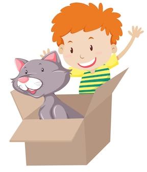 Los niños juegan con el gato en la caja.