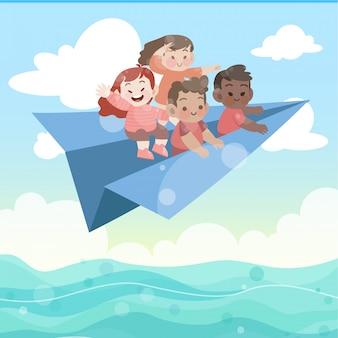 Los niños juegan en la ilustración de vector de avión de papel