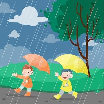 Los niños juegan en la ilustración de vector de día lluvioso