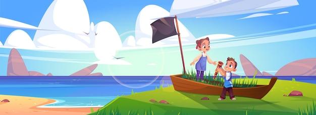 Los niños juegan en piratas en la playa del mar con barco viejo